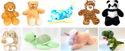 Picture of 9 stuffed animals Brown Bunny, Turtle, Lion, Dolphin, Honey Bear, Tiger, Unicorn, Panda Bear, T-Rex
