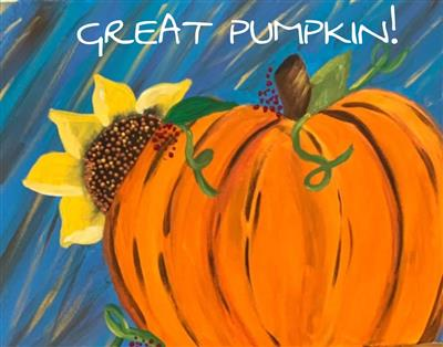 orange pumpkin in front of a sunflower with blue background