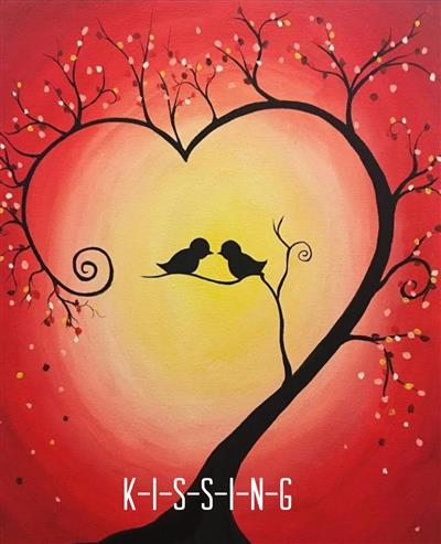 Two love birds in a tree with red sky