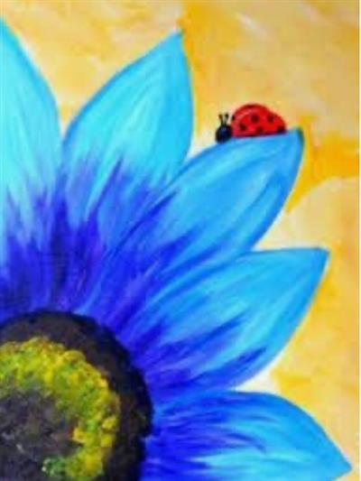 lady bug on blue flower petal
