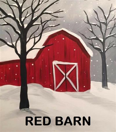 Red barn in snowy scene