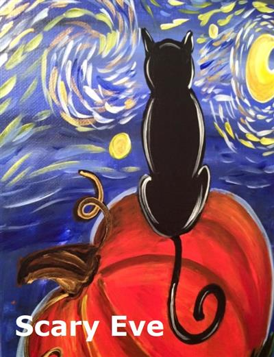 black cat sitting on pumpkin staring at starry sky and moon