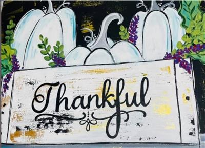 """white box with """"Thankful"""" filled with white boxes and grapes"""