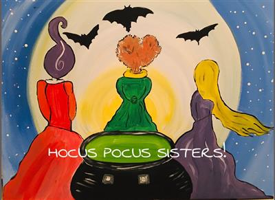 the back of three witches in colorful capes staring at large full moon